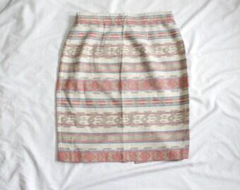 SALE | 1980s Southwestern Pencil Skirt | Vintage 80s Southwest Stripes High Rise Skirt | Large L XL