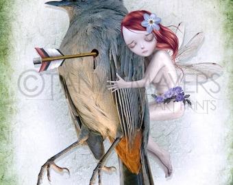 A3 Art Print - Large Print - Fairy & Bird - Last Breath