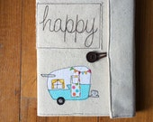 Happy Camper Covered Composition Book with pen, made to order, notebook, journal, guest book, cute notebook, vintage camper, shasta trailer