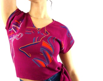 80s cropped tie blouse / side tie / maroon / floral top