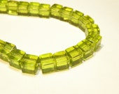 "20% OFF -- DESTASH - 14"" Strand of 6mm Olive Green Glass Cube Beads -- Lot 3A"