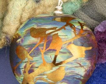 """SRA Handmade Lampwork Focal Bead Pendant """"Evening Chorus"""" Iridescent Lentil Bird Bead ~ Sterling Silver"""