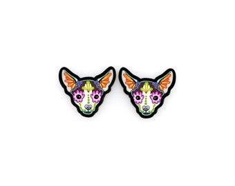 Chihuahua Earrings in Moo - Day of the Dead Sugar Skull Dog Post Earrings