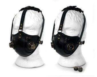 STEAMPUNK LEATHER Mask black leather Respirator Raider Double Caps