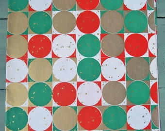 Vintage Mid Century Modern Red Green & Gold Christmas Gift Wrap Full Sheet