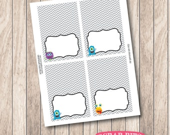 Instant Download . Printable Tent Cards, Printable Monsters Blank Food Tent Cards, Buffet Labels or Place Cards