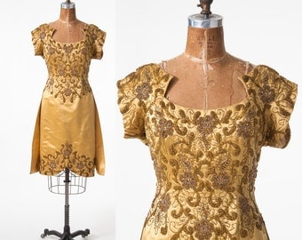Vintage 1950s Beaded Silk Dress, 50s Golden Yellow Beaded Cocktail Party Dress, Mid Century Formal, Women's Clothing, Dresses