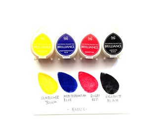 brilliance dew drop ink pads. tsukineko rubber stamp pad.  matte pearlescent multipurpose fast drying ink. card making. set of 4. basic