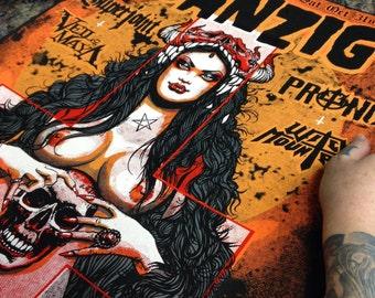 Glenn Danzig - Halloween concert Los Angeles  - Blackest of the black tour poster - silkscreen gig concert limited edition samhain misfits