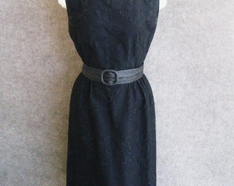 50s 60s Black Dress Vintage R&K Originals Cotton Embroidered Sheath, Sleeveless Fitted Wiggle Dress, Mid Century Classic, Bust 34