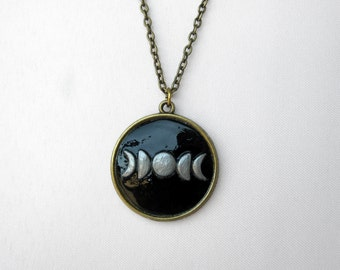 Moon Phases Hand-Molded Pendant Necklace - Unique OOAK Layering Jewelry - Crescent Moon - Bohemian Necklace - Black Silver Antique Brass