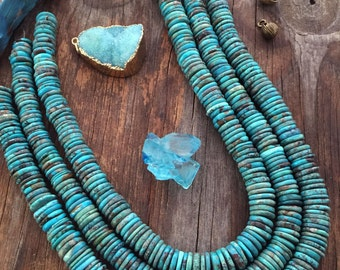 """Kingman Turquoise Disc Beads, Real American Turquoise, Free Form Marbled Turquoise Beads, Turquoise Rondelle, 16"""" strand / Blue, Supplies"""