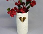 Golden Heart Porcelain Wood Grain Vase