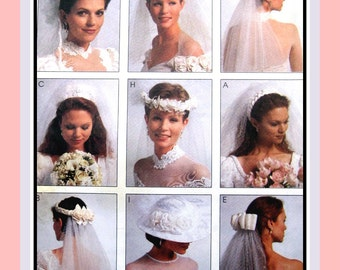 Vintage 1995-BRIDAL HEADPIECES-VEIL-Hat-Sewing Pattern-Nine Styles-Ribbon-Tulle-Pearls-Roses-Lace Appliqué Details-Uncut-One Size-Rare