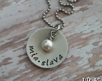 Custom hand stamped, Personalized, necklace with pearl or birthstone crystal