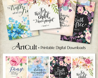 """Printable download BIBLE VERSES TAGS No.1 Scripture Art 2.5""""x3.5"""" size hang tags digital collage sheet greeting cards ArtCult designs"""