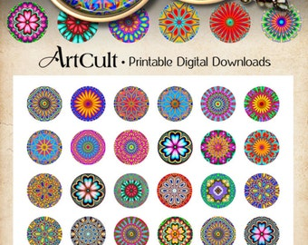 1 inch (25mm) Printable circle Images KALEIDOSCOPE Digital Collage Sheet for round glass or resin Pendants bezel settings cabochon trays