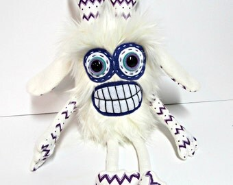 Crazy Monster Plush - Handmade Weird Plush Monster - Siegfried Monster - White Faux Fur - Hand Embroidered - Silly Monster Soft Toy - Cute