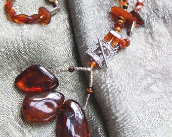 Baltic Amber Necklace. SALE. Sterling Silver Necklace. Genuine Baltic Amber Lariat Trio. Fine Jewelry.