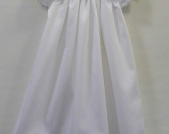 Lucy white cotton pique christening, baptism, blessing, gown, dress