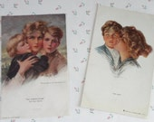 Mother and Sons Philip Boileau Gorgeous Illustration The Coming Storm and My Boy Protective and Loving Moms Lot of 2