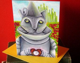 Tin Man Cat, Wizard of Oz, Cat Art 5x7 Blank Greeting Card