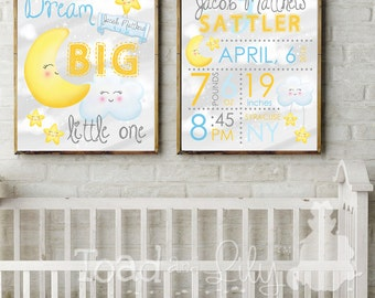 Set of 2 Unframed 16x20 Personalized Dream Big Little One Moon and Stars Baby Nursery Birth Info Art Prints Bedroom Baby Nursery ART PRINTS