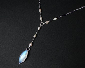 Rainbow Moonstone Necklace, Y Necklace, AAAA Grade, Sterling Silver - Shooting Star by CircesHouse on Etsy
