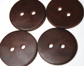 Large Wooden Buttons, Exotic Wood Buttons, Natural Wooden Buttons, Four Handmade Mahogany Wood Buttons, 1 7/8 Inches (48 mm)
