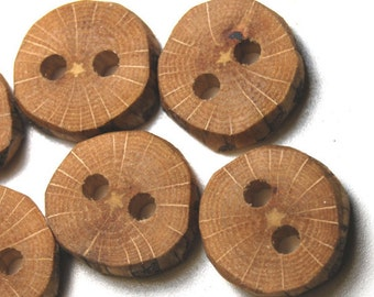 Handmade Natural Wood Buttons, Oak Tree Branch Wood Buttons, 13/16 Inch (21 mm), Set of 6