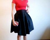 Black Knee Skirt Silk Shantung High Waist Party Evening Skirt with Pockets, Prom Cocktail Skirt, Customize color and length, Plus sizes