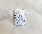 vintage porcelain thimble, Germany. blue heart, blue flowers, hand decorated, collectible