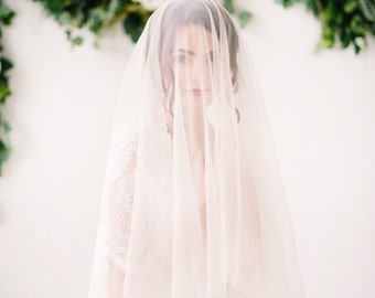 English net circle drop veil, ivory, white, bridal veil, long veil