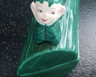 Vintage Pixie Elf  Figurine Ceramic Container Box