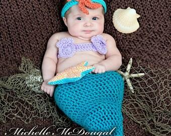 Newborn Mermaid Photo Prop, 0 to 3 Month Turquoise Mermaid Halloween Costume