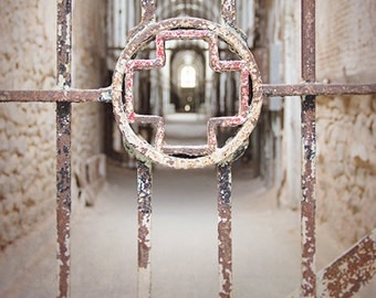 Architectural Detail Photograph, Iron Cross, Eastern State Penitentiary, Abandoned Prison, Metal Bars, Perspective Photography, Urban Decay
