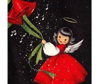 Christmas Angel Ringing Bell Card Image Digital Download vintage transfer card holiday xmas christmas card vintage 1950s red dress snowstorm