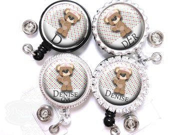 Band-aid Bear Badge Reel - Personalized Hearts Nurse Retractable Lanyard ID Holder with Name, Monogram, Occupation Title (A027)