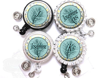 Badge Reel - Personalized Blue Sky Tree and Falling Leaves Retractable Nurse Lanyard ID Holder with Name Monogram, Occupation Title (A160)