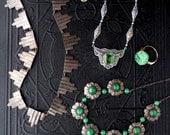 Art Deco Jade Bracelet in 14k Gold. Pierced Floral Stones.