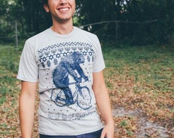 Ugly Hanukkah Sweater Sloth on a Bike Shirt - Mens tee, Unisex Tee, Cotton Tee, Handmade graphic tee, Bicycle shirt, Bike Tee, sizes xs-xxl