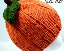 Pumpkin Hat Baby Costume Fall Knit with Leaves baby newborn 0 3 6 month child Thanksgiving Halloween costume Baby shower gift READY TO SHIP