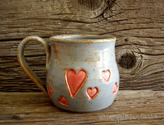 Heart Mug in Rustic Blue - Pottery Mug - Coffee Mug - Off Center Heart - by DirtKicker Pottery