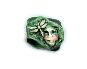 artisan bead, handmade bead, rustic bead, pendant bead,green bead,  # 117