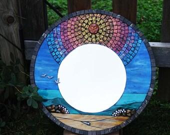 """Mirror, Mosaic, 18"""" Round, Sun and Surf"""
