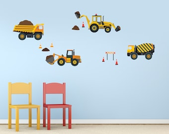 Construction Wall Decals, Four Construction Trucks, Tractors, Cement Mixer Fabric Repositionable Decal Stickers