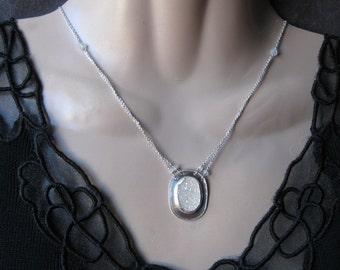 Titanium Druzy Necklace- Moonstone, Silver MetalWork