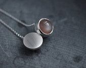 Peach Moonstone solid silver round ball necklace