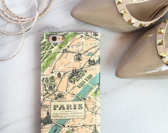 Paris Map Wallet Phone Case, iPhone 6S Plus Womens Wallet Case iPhone 6 Case Vintage Style