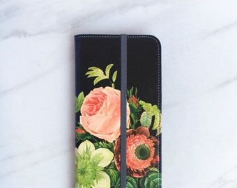 Bouquet iPhone 7 Wallet Case Floral on Black, iPhone 8 Plus Womens Wallet iPhone X, iPhone 6S Plus Faux Leather
